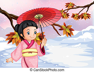 A japanese wearing her yukata - Illustration of a japanese...