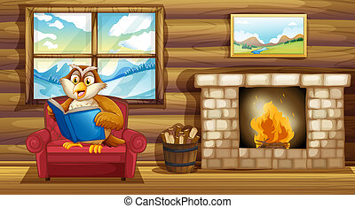 An owl reading a book beside a fireplace - Illustration of...