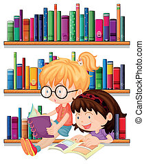 Two friends reading - Illustration of the two friends...