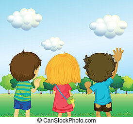 Backview of three kids - Illustration of the backview of...