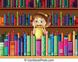 A scared little girl in the library - Illustration of a...
