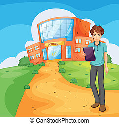 A boy holding a book standing outside the school building -...