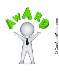 3d person and word AWARD - 3d person and word AWARDIsolated...
