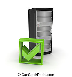 Server and green tick mark.Isolated on white.3d rendered.