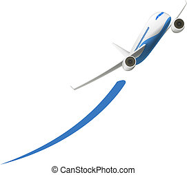 Airplane Takeoff - Vector Airplane Takeoff isolated on white...