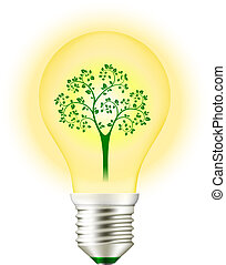 Green Energy Light Bulb with Tree isolated on white