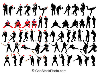 baseball silhouette set - Set of detail baseball athlete...