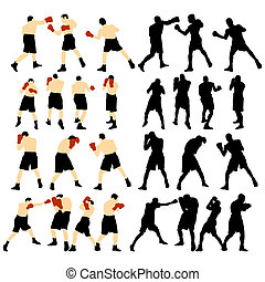 Boxing silhouette - Set of detail boxing silhouettes. Fully...