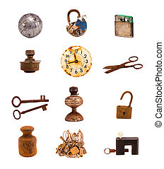 twelwe old objects and tools isolated on white