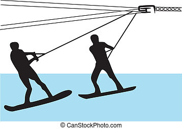 water skiing silhouette vector - two people water...