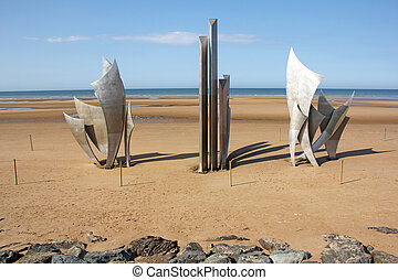 Omaha Beach - Memorial at Omaha Beach - place of landing of...