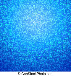 Wave seamless ornamental background in blue color option...