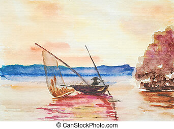 sailor on the boat, watercolor painting