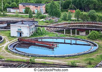 Wastewater, filtración, agua, tratamiento, planta,...