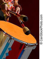 músico, tambor, juego