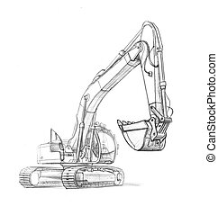 drawing excavator - illustration of an excavator, in pencil....