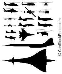 aircrafts - set of illustrations of silhouettes of aircraft....