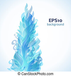 Different blue fire flames on a white background. Vector...