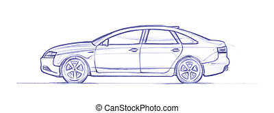 Sedan - Car drawed with a pen. hand drawn