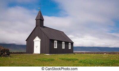 Wooden church - Timelapse of black wooden church in front of...