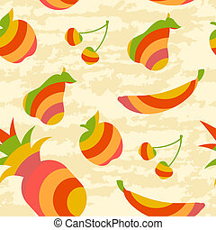 Fruit Pattern - seamless pattern with striped fruits on a...