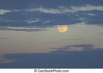 A summer perigee moon as seen in the night sky throught the...