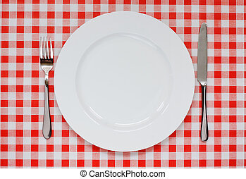 Place setting on red Gingham tablecoth - Empty plate setting...
