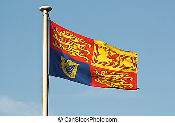 British royal standard flag on flagpole - The Traditional...