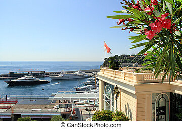 Monaco harbour - View of the Fontvielle harbour and marina...