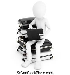 3d man with tablet and pile of suitcases isolated on white...