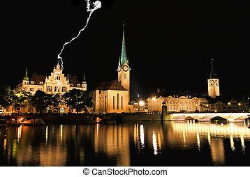 The night view of major landmarks in Zurich Switzerland