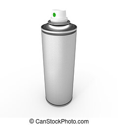 Aluminum spray can isolated on white background