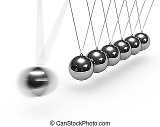 Balancing balls Newtons cradle isolated on white background