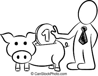 cartoon of a businessman who put money into a piggy bank -...