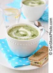 Cold cucumber-yogurt soup with dill, and cucumber sandwich