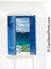 傳統, 希臘語, 窗口, Sifnos, 島, 希臘