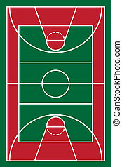 basketball court vector illustration isolated on white...
