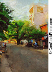 Asian street - Digital watercolor colorful natural...