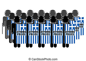 Greek Anti-Riot Police - Silhouette of Greek Anti-Riot...