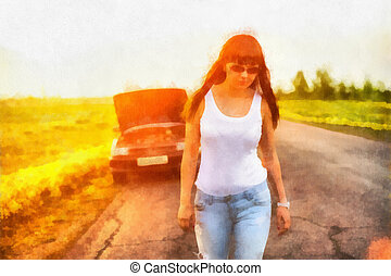 Girl leaves broken car - Digital watercolor bright...