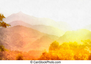 Misty sunrise - Digital watercolor background of picturesque...