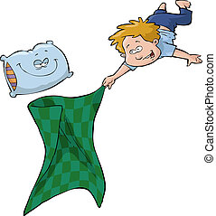 Boy and blanket - A boy with a blanket and a pillow vector...