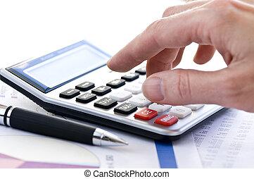 imposto, calculadora, caneta