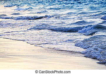 Waves breaking on tropical shore - Tropical Caribbean sea...