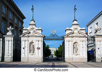 Entrance to the Warsaw University in Poland - Main entrance...