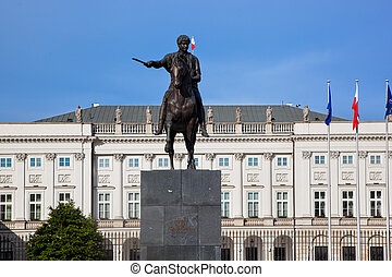 The Presidential Palace in Warsaw, Poland and the statue of...