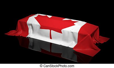 Coffin covered with the flag of Canada