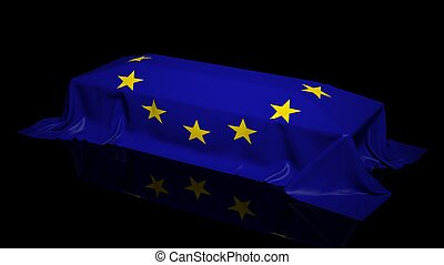 Coffin covered with the flag of EU