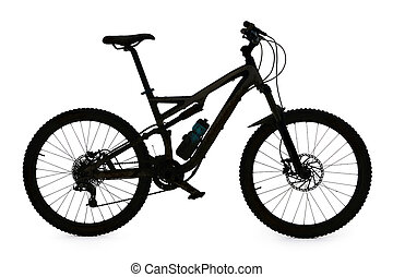 Mountain bike silhouette on white background
