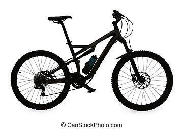 Mountain bike silhouette on white background